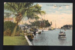 MIAMI FLORIDA MIAMI RIVER BUDGE DOCK VINTAGE BOATS ANTIQUE POSTCARD FLA.