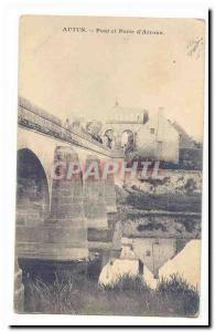 Autun Postcard Old Bridge and door & # 39Arroux (background Roman ruins)