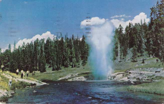 Riverside Geyser - Yellowstone National Park WY, Wyoming - pm 1965