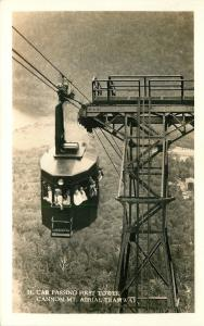 Cannon Mountain New Hampshire~Aerial Tramway~Full Car~First Tower~1940s RPPC
