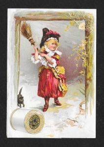 VICTORIAN TRADE CARD Coats' Thread Girl Broom Black Cat