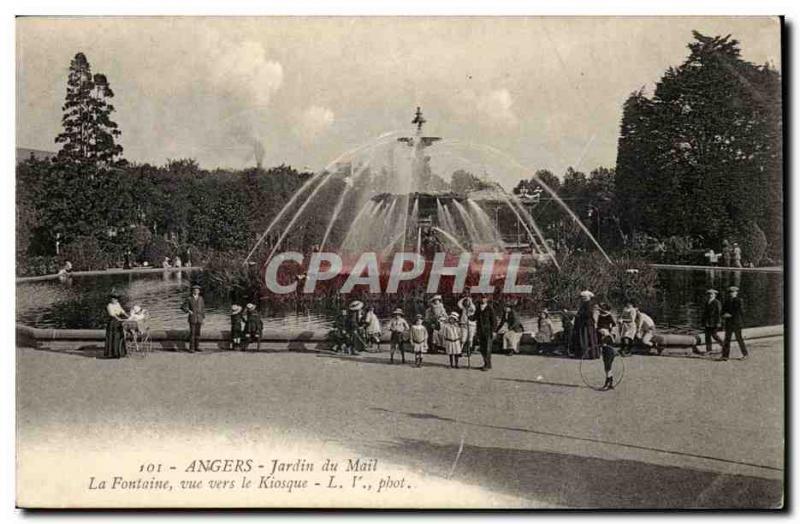 angers CPA Le jardin du Mail La fontaine vue sur le kiosque ...