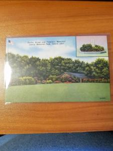 Antique Postcard, Shelter House and Veteran's Memorial...  Girard, Ohio