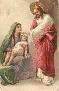 Jesus blessing a sich child Old vintage Germanyreligious postcard