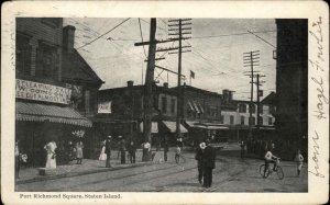 Port Richmond Square Staten Island Street Scene c1905 Postcard