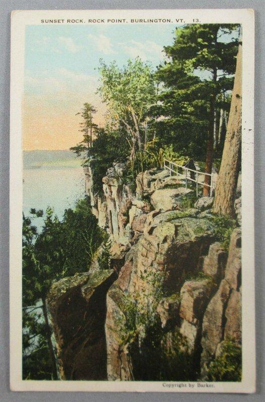 Sunset Rock, Rock Point, Burlington VT Postcard (#7261)