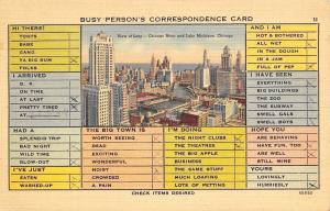 Chicago IL~The Loop~Busy Person's Correspondence  Card~To Schmutzler 1941 PC