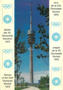 1972 Olympiade Postcard Germany Munchen Radio Tower and Skating Hall