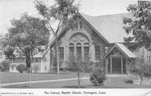 Torrington Connecticut~Calvary Baptist Church~House Nextdoor~1906 Postcard