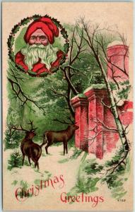 c1910s Holiday Postcard Christmas Greetings Santa's Reindeer Waiting at House