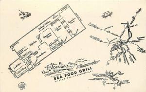 1950s Johnson's Hummocks Seafood Grill Restaurant Providence Rhode Island. 7762