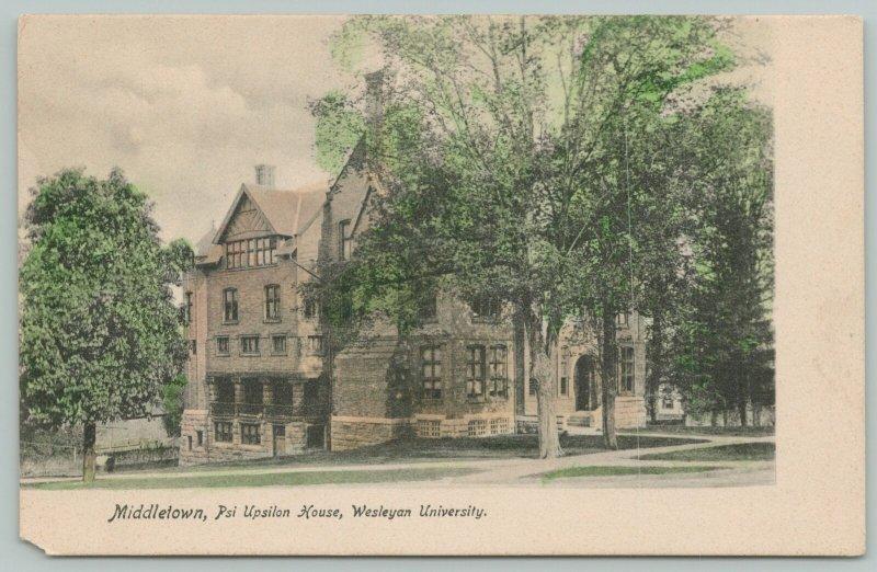 Middletown CT Handcolored: Psi Upsilon Fraternity House Wesleyan University~1905