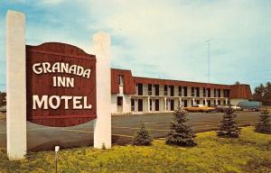 Kalkaska Michigan~Granada Inn Motel~Big Brown Sign~Little Evergreens 1970s