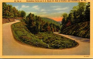 West Virginia Horseshoe Curve On U S Route 50 East Of Grafton and Clarksburg ...
