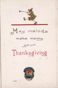 Thanksgiving With Turkey and Pilgrim Blowing Horn