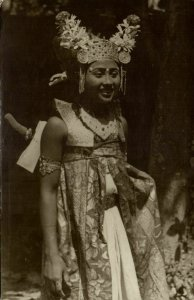 indonesia, BALI, Native Legong Dancer Girl (1938) RPPC Postcard