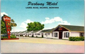 Billings, Montana Postcard PARKWAY MOTEL Highway 10 Roadside Linen c1950s Unused