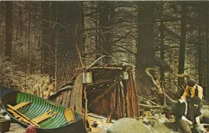 Albany New York State Museum~Adirondack Camp (c1880)~Sportsman @ Campsite~60s Pc
