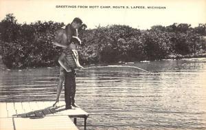 Lapeer Michigan Mott Camp Fishing Scene Antique Postcard K88518