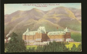 Canada CPR Banff Springs Hotel/Sulphur Mountain Rockies Linen Postcard Unposted