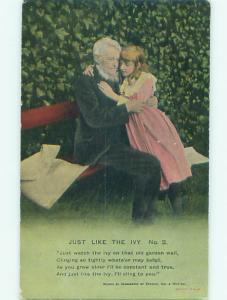 Bamforth GIRL SITTING WITH OLD MAN AT IVY WALL AC6700