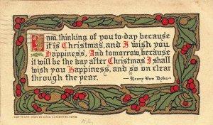 ARTS & CRAFTS 1910 Christmas Greetings Postcard by Scribners Henry Van Dyke