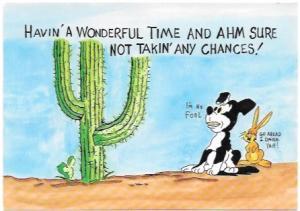 US Mint postcard show Saguaro Cactus with a dog and a rabbit.