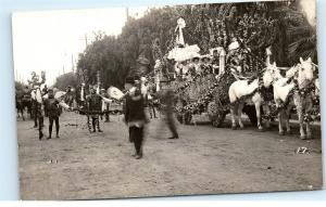 Rose Parade Unknown USA US Location Photo Postcard Men in Dragonfly Costumes D15
