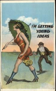 Large Breasted Bathing Beauty 1920s Flapper Girl & Old Man on Beach Comic PC
