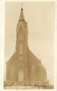 Dickeyville WI Holy Ghost Church~Sepia Real Photo Postcard c1934