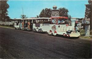 Arcola Illinois~Yoder Miniature Train Tram~Greetings from Rockome~1960 Postcard