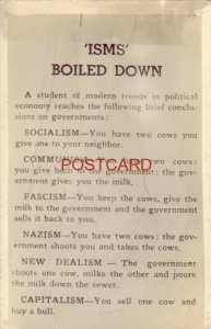 A STUDENT IN POLITICAL ECONOMY REACHES THESE CONCLUSIONS - 'ISMS' BOILED DOWN