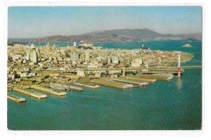 Aerial View CA San Francisco Oakland Bay Bridge Embarcadero Piers Vntg Postcard