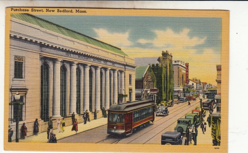 P1866 old postcard busy purchase street new bedford mass trolly and old cars etc
