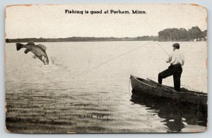 Perham Minnesota~Man Catches Exaggerated Fish from Boat~c1910 Postcard