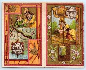1880 CALENDAR FOLDER CLARK'S MILE END SPOOL COTTON CHILDREN AT WELL WEMPLE LITHO