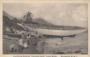 PLYMOUTH , Montserrat , B.W.I. , 00-10s ; Launching Schooner Plymouth Belle