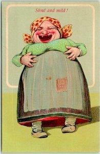 Vintage 1910s Embossed Postcard Fat Lady Stout and Mild! Series 893-5 UNUSED