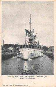 Boston Massachusetts Navy yard battleship Maryland antique pc Z46115