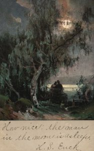 ?Vintage Postcard 1906 Couple Lovers Under The Tree Full Moon Romance Artwork