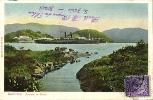brazil, SANTOS, Entrada no Porto, Steamer (1910s) Stamp