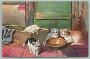 Cats~Kittens In Barn Concerned~Empty Milk Bowl~Box Of Straw~Broom~Artist Signed