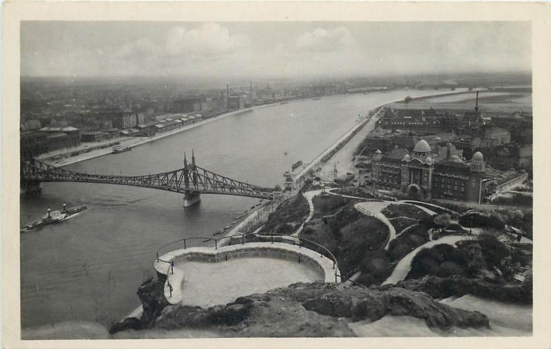 Budapest Hungary 1933 panorama real photo postcard Danube bridge