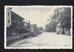 VERGENNES VERMONT DOWNTOWN MAIN STREET SCENE 1930's CARS VINTAGE POSTCARD