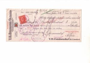 Cheque, Estabooks Co Importer of Red Rose Tea, St John New Brunswick,