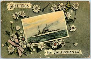 1911 GREAT WHITE FLEET Postcard U.S.S. ILLINOIS Greetings from California