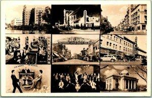 1940s RENO Nevada RPPC Real Photo Postcard Multi-View Casino / Street Views