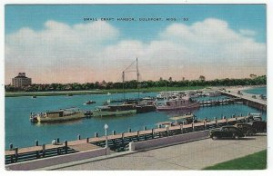 Gulfport,  Mississippi, Vintage Postcard View of The Small Craft Harbor, 1945