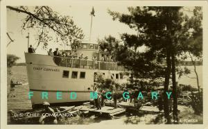 1946 Lake Nipissing ON RPPC: 'Chief Commanda' Near Shore