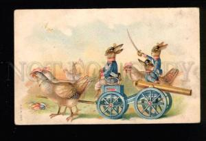 046877 RABBITS in Military Uniform old EASTER RUSSIAN PC